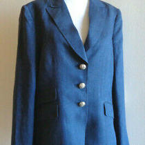 Basler 42 Us 12 Navy Linen Military Blazer Jacket Elbow Patches Photo