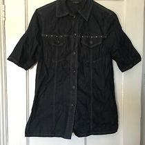 Basler Jeans Size  F36 Gb 08 Blue Short Sleeve Denim Shirt With Stretch.  (Q13) Photo
