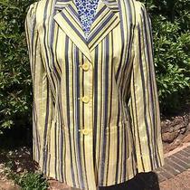 Basler Lemon Yellow Striped Silk Blend Jacket Blazer Size Eu 36 Uk 10 Photo