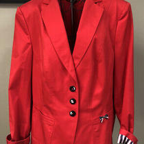 Basler Red Jacket Satin Lined Women's Blazer Made in Romania Size 14/16 Photo