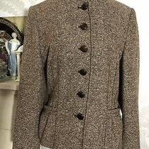 Basler Vintage Ladies Wool N Silk Blend Blazer Size Eu 38 8 Uk Brown Mix Photo