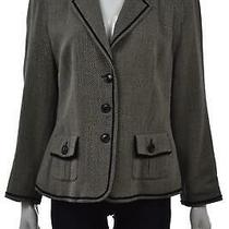 Basler Womens Blazer Size 10 Black Beige Striped Wool Basic Jacket Long Sleeve Photo