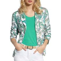 Basler Womens Green Paisley Office Knit Blazer Jacket Plus 18 Bhfo 1466 Photo