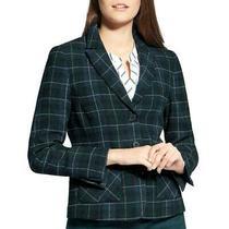 Basler Womens Green Plaid Wool Blend Three-Button Blazer Jacket 8  0805 Photo