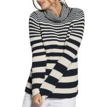 Basler Womens Navy Striped Cotton Turtleneck Sweater Cold Weather 16 Bhfo 5725 Photo