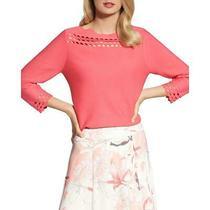 Basler Womens Orange Basic Long Sleeve Cut-Out Sweater Top 10  8450 Photo