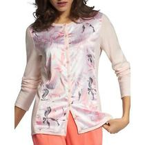 Basler Womens Pink Floral Mixed Media Jacket Cardigan Top 20 Bhfo 2033 Photo