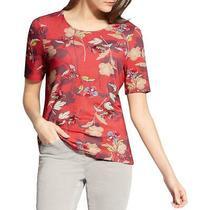 Basler Womens Red Floral Print Crew Neck Tee T-Shirt Top 12 Bhfo 6062 Photo