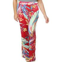 Basler Womens Red Floral Pull on Palazzo Wide Leg Pants 20 Bhfo 6376 Photo