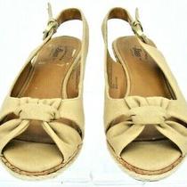 Bass Christy Slingback Sandal Womens Sz 6 M Beige Denim Peep Toe Cork Wedge Heel Photo