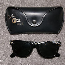 Bausch Lomb Ray Ban Wayfarer Sunglasses W/case Black Gold Mother of Pearl  Photo