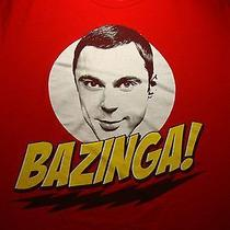 Bazinga T Shirt Large Red Tee Big Bang Theory Sheldon Cooper Jim Parsons Cbs Tv Photo