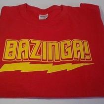 Bazinga T Shirt Sz L Large the Big Bang Theory Sheldon Tv Show Red Funny Photo