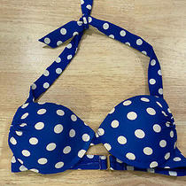 (Bb28d) Mossimo Medium Navy Blue White Padded Bikini Top Photo