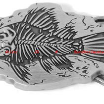Bbg1834s Fish Fossil Body Old Prehistoric Animal Bone Skull Skeleton Belt Buckle Photo