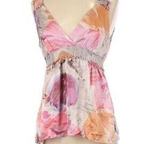 Bcbg 100% Silk Pastel Floral Baby Doll Top S Photo