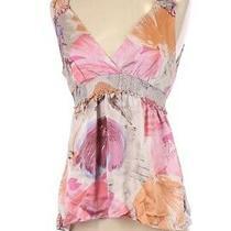 Bcbg 100% Silk Pastel Floral Baby Doll Top S Photo