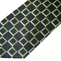 Bcbg Attitude Mens Necktie Tie Grey Olive Green Blue Checkered Thick Silk 59