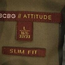 Bcbg Attitude Slim Fit Olive Green Men's Large Dress S Photo