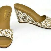 Bcbg Bcbgirls Tan Gold Cream Logo Slide Wedge Heel Shoes Size 7.5 B Photo