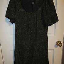 Bcbg Black and Gold Puffy Sleeve Dress - Medium Photo