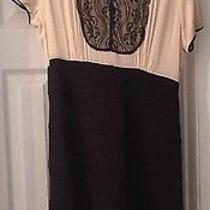 Bcbg Black and Ivory Dress Size 14 Office Wear Mad Men Retro Vintage Lace Detail Photo
