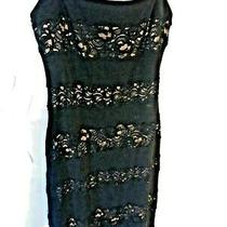 Bcbg Black Illusion Lace Sequins Long Dress Small Adjustable Straps  Photo