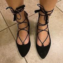 Bcbg Black Lace Up Flat Slippers Sz. 5.5 - Similar to Aquazzura Christy Flats Photo