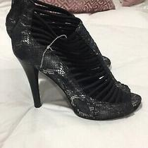Bcbg Black Leather Elastic Metallic Gladiator Sandals Womens 9 Block Closed Heel Photo