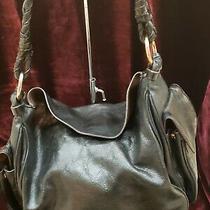 Bcbg Black Leather Large Shoulder Bag Purse Handbag Msrp 175 Photo