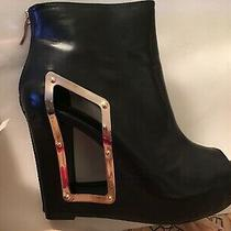 Bcbg Black Leather Platform Heal Boots With Open Toe Size 8.5 Brand New Photo