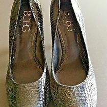 Bcbg Black Leather Snakeskin Colored Textured Classic Pump Heel Shoes Size 8.5 M Photo