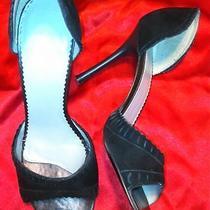 Bcbg Black Open Toe Suede Sandals Shoes 9 Photo