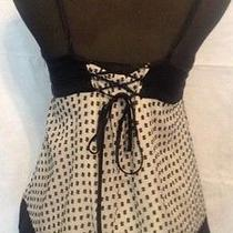 Bcbg Blouse Small Silk Black Corset Back Lined Polka Dot Photo