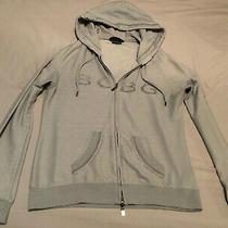 Bcbg Blue Rhinestone Logo Zip Up Hoodie Jacket Size M Photo