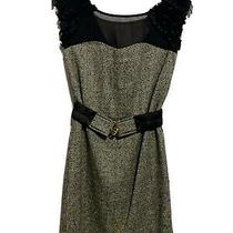 Bcbg Brown Belted Dress With Black Ruffle Sheer Top Size 2 Photo