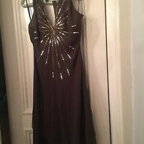 Bcbg Brown Sequined Empire Halter Dress Sz 6 Photo