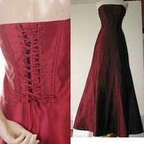 Bcbg Burgundy Strapless Back Lacing Corset Gown 2 Nwot Photo