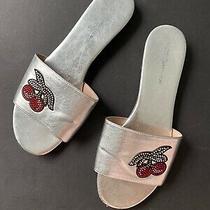 Bcbg Cherry Rhinestone Sandals Slides Women 9 Silver Shoes Metallic Photo
