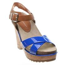 Bcbg Chessa Platform Wedge Sandal Vivid Blue 7 - New Photo