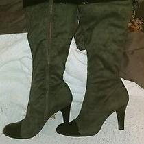 Bcbg Chill Strech Gray Faux Suede Patent Toe Heel High Boots Size 6.5 Photo