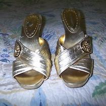 Bcbg Criss Cross Gold Sandals Size 8 Guc  Photo