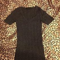 Bcbg Dark Gray Short Sleeve Cable Knit Sweater Size M Photo