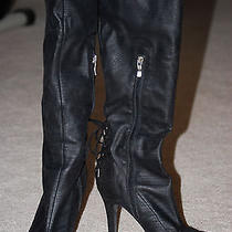 Bcbg Easton Pull-on Knee High Black Boots Kid Suede/man Made 8.5 Euc W/box Photo