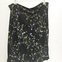 Bcbg Exclusively for Nordstrom Womens Skirt Black Blue Print Elastic Waist L Photo