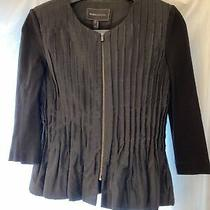 Bcbg Fitted Peplum Zip Blazer Black Size Small Photo