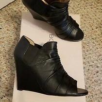 Bcbg Fontanne Genuine Soft Nappa Open Toe Ankle Boots 8.5m Black Photo