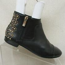 Bcbg Generation Black Leather Studded Ankle Boot Booties Size 5.5m / 35.5 Logann Photo
