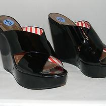 Bcbg Generation Black Patent Leather Wedge Sandal Size 7.5  Photo
