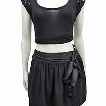 Bcbg Generation Black Tie Waist Mini Skirt Pleated Size 4 Photo